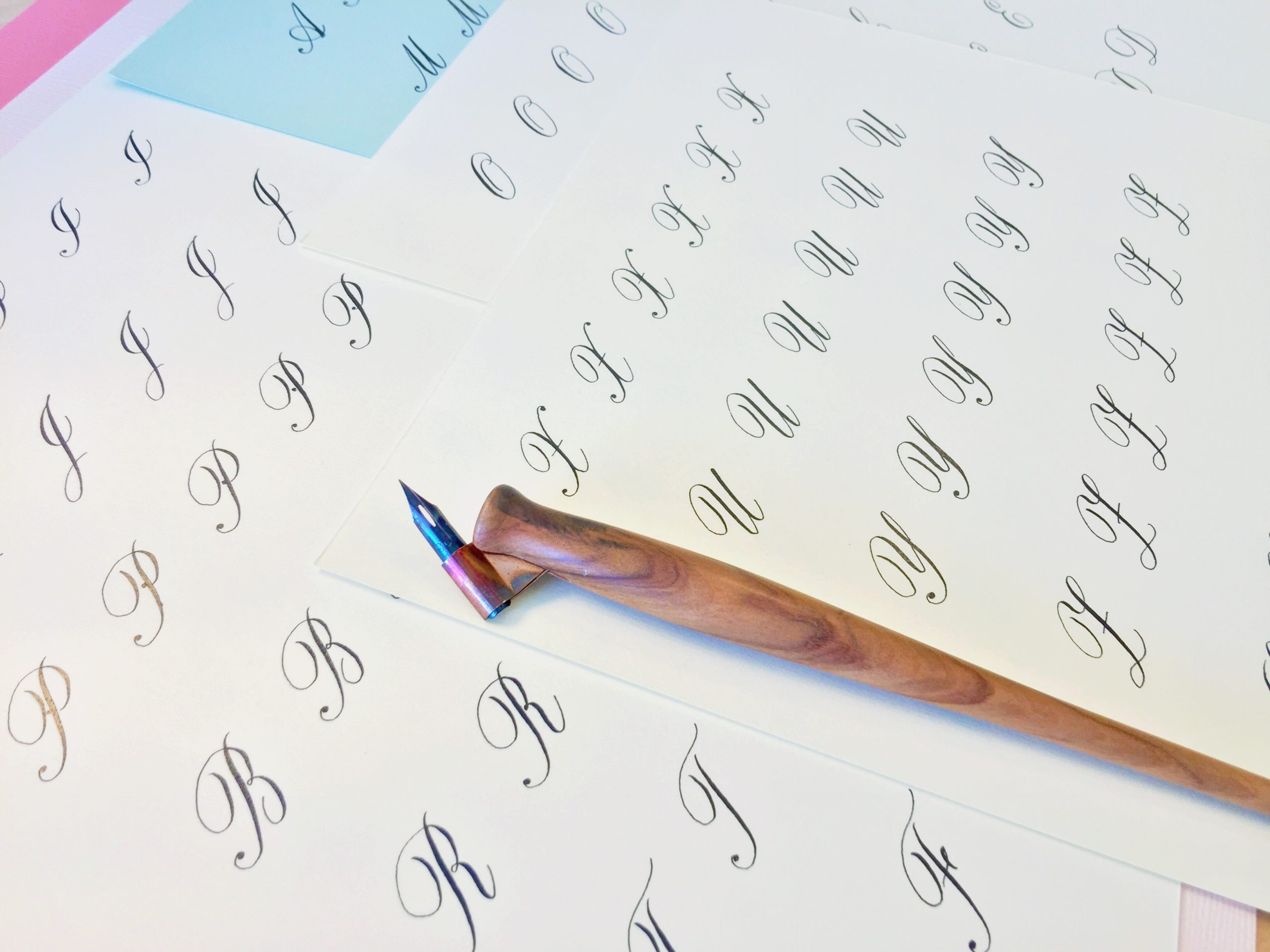 Beginner Copperplate Calligraphy Uppercase Strokes and Letters