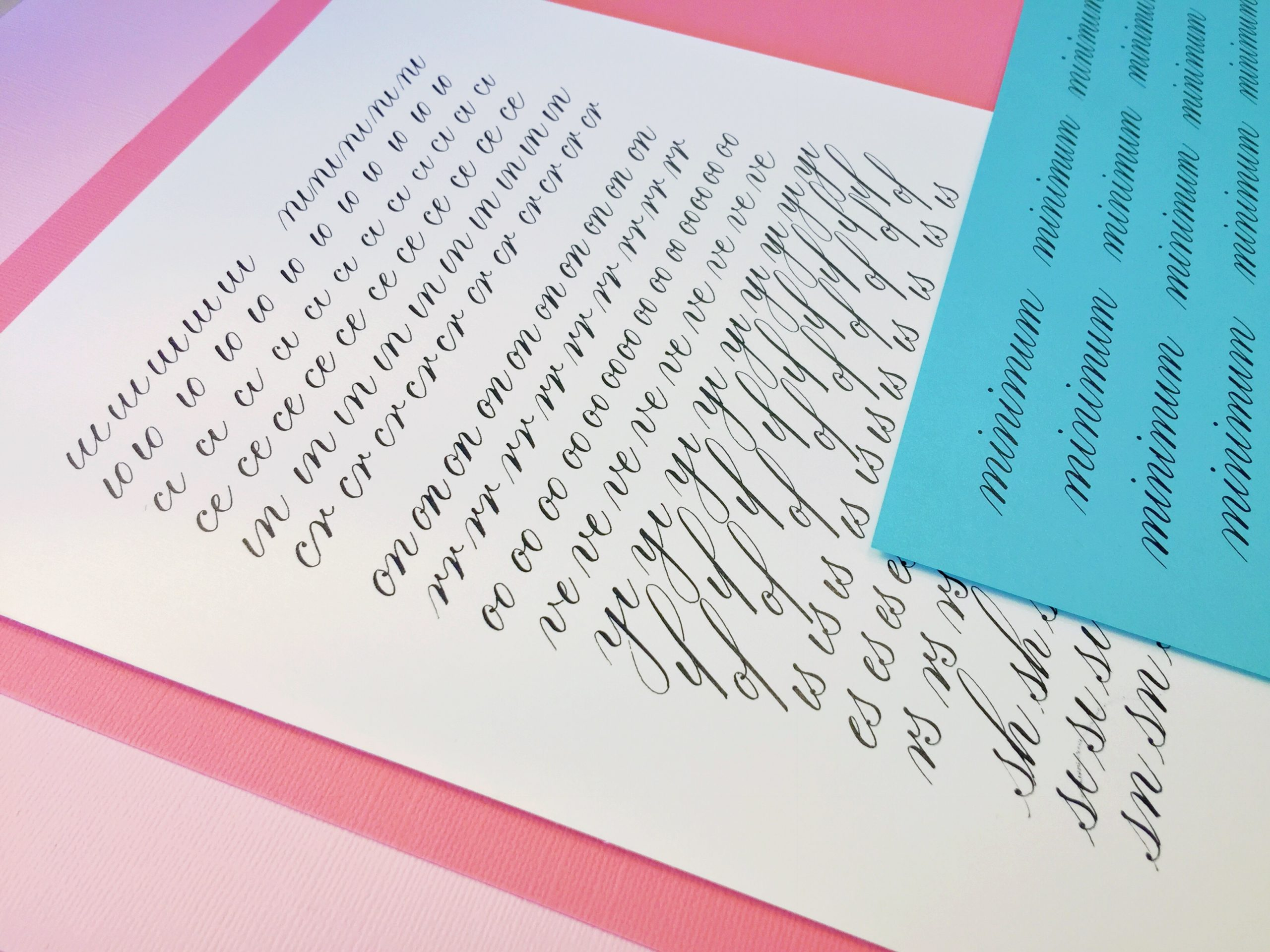 Beginner Copperplate Calligraphy Complete Worksheet Set Combinations